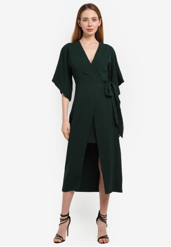 River Island green Kimono Sleeve Midi Dress 80BF1AA3879FD0GS_1