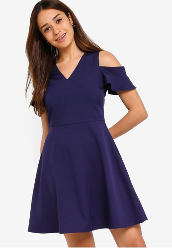ZALORA navy Cold Shoulder Fit And Flare Dress C8723AADF07541GS_1