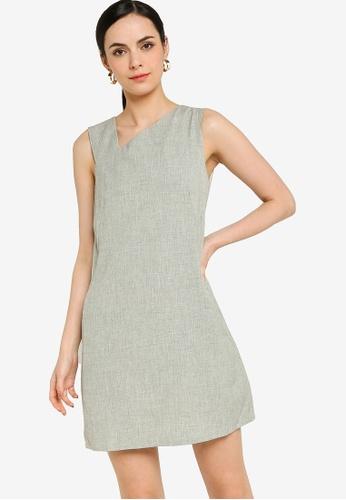 ZALORA WORK grey Asymmetric Shift Dress EEF50AA5F9F652GS_1