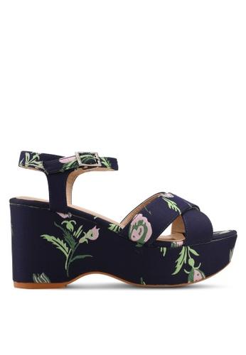Nose blue Floral Print Wedge Heel Sandals 25562SH007F6E5GS_1