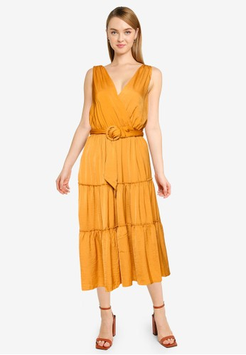 FORCAST yellow Eliza Belted Midi Dress B2852AA6FCD97CGS_1