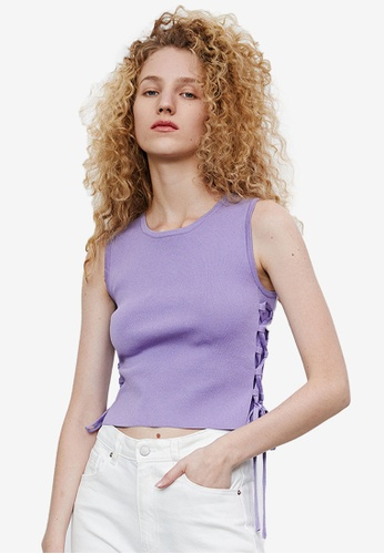 URBAN REVIVO purple Lace-up Knit Tank Top E40B1AA957CFD5GS_1
