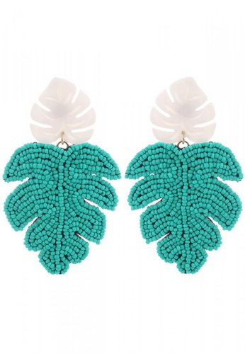 Style Cat white and green and blue Style Cat Cancun Leaf Earrings 6FFCFACB00D35DGS_1