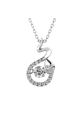 Her Jewellery silver 12 Dancing Zodiac Pendant (Snake) WG - Made with premium grade crystals from Austria 46409ACD965603GS_1