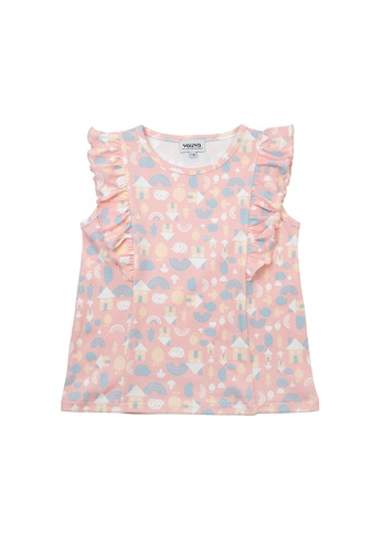 Vauva pink Vauva Girls Rainbow House Pattern Frilling Sleeves Top - Pink 2B271KAD61AFCBGS_1