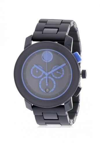 movado black and blue MOVADO Bold Navy Blue Stainless Steel Chronograph Men's Watch 43686AC8C5955DGS_1
