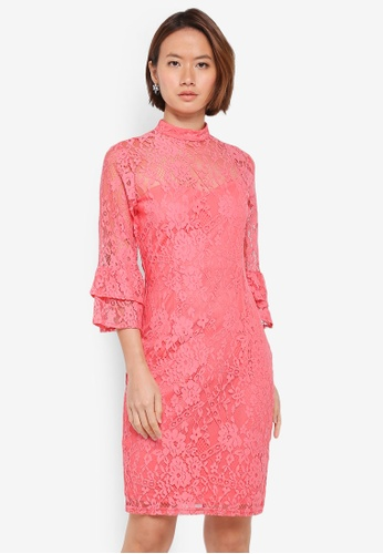 Paper Dolls pink Soft Lace High Neck Flute Double Cuff Dress 6FFE9AA44BBBEAGS_1