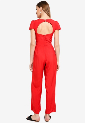 Miss Selfridge red Frill Cape Jumpsuit Red 40CA1AAD756FAEGS_1