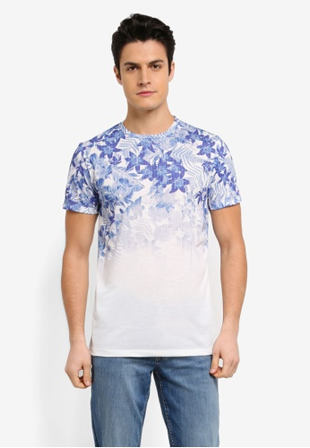 Burton Menswear London white Blue And White Floral Fade T-Shirt B4577AAF4BA0E3GS_1