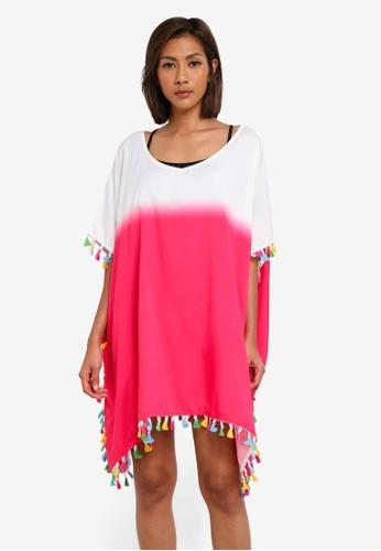 SunThing Cool pink Riley Pink Dip Dye Rainbow Tassled Short Kaftan SU709US0SCSHMY_1