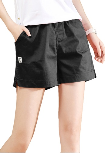 A-IN GIRLS black Elastic Waist Casual Shorts 67D10AA602174DGS_1