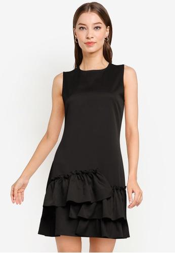 ZALORA WORK black Ruffle Hem A-Line Dress FA0DCAAA38B34DGS_1