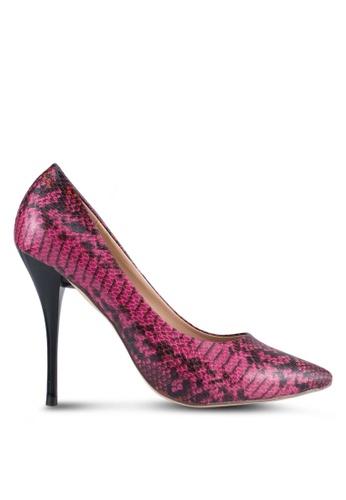 Nose pink Python Print Heel Pumps NO327SH0SJ1JMY_1