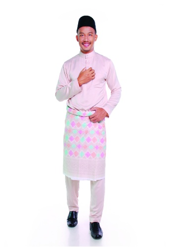 Khalifah by N white and yellow and multi and beige Baju Melayu Cekak Musang 2.0 Slim 124B7AA63DD58EGS_1