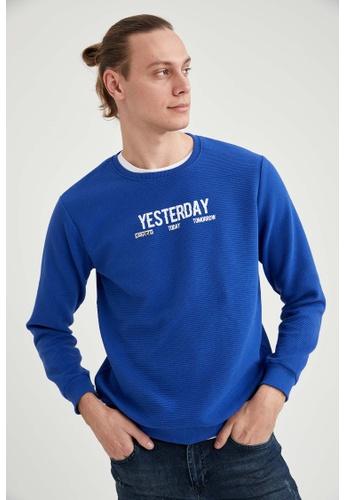 DeFacto blue Man Knitted Sweat Shirt 32207AAA9DA2B3GS_1