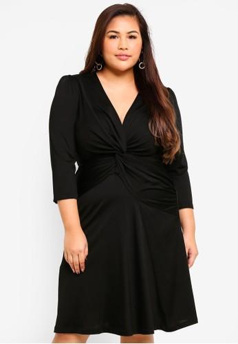 Violeta by MANGO black Plus Size Knotted Cotton Dress 33A41AAB5A60D5GS_1
