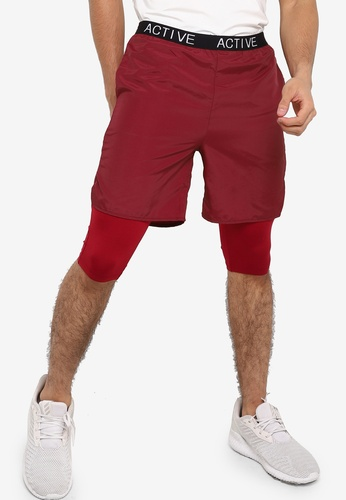 ZALORA ACTIVE red Active Workout Shorts with Inner Tights 50DF0AAED3CFA8GS_1