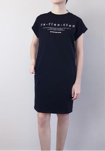 SUB black Women Dress With Front Slogan 315DBAA860B8B8GS_1