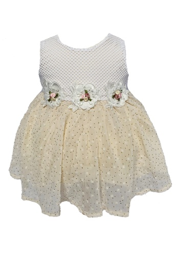 Era Maya white and beige and gold Classy Golden Beads Party Dress with Embroidery Flowers 590D5KA20B107BGS_1