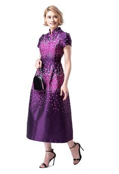 079a1107da Evening by Karen Liu multi Stand Collar Purple Floral Print Qipao Dress  02700AABFB6B21GS 1