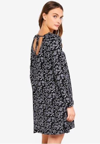 Brave Soul black and multi Long Sleeve Dress With Tie Up Detail 82BF4AA908EE75GS_1