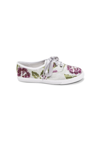 prettyFIT beige Beige Satin With Loral Embroidery Sneakers 0957FSHA4BED12GS_1