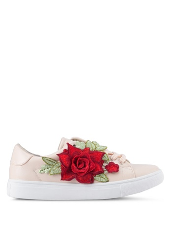 addicts anonymous beige Scarlett Flower Applique Sneakers AD479SH0SR5ZMY_1
