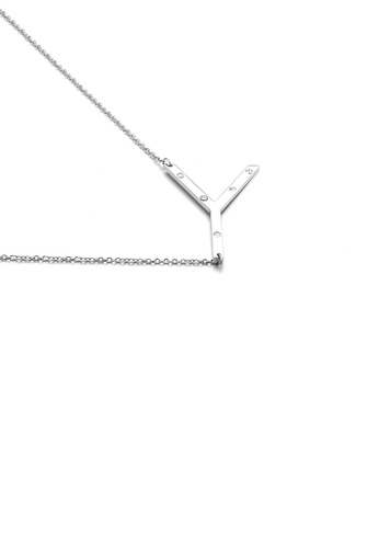 Glamorousky white Fashion Personality English Alphabet Y 316L Stainless Steel Pendant with Cubic Zirconia and Necklace 08DAAAC2D61360GS_1