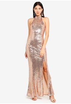 d8a38dfe12 MISSGUIDED gold Sequin Choker Maxi Dress 2BF9AAA8E0C423GS 1