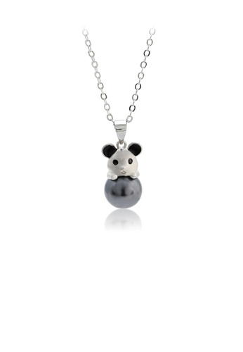 Glamorousky black 925 Sterling Silver Simple Cute Mouse Black Freshwater Pearl Pendant with Necklace F3434AC7D1F840GS_1