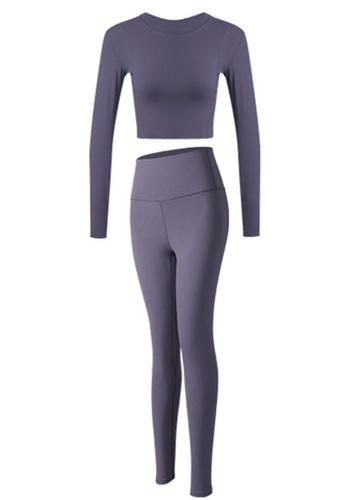Sunnydaysweety purple Skinny Long Sleeves Top with Tights Set A081021PU B4F0DAA2B3A55DGS_1