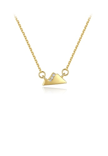 Glamorousky white 925 Sterling Silver Plated Gold Simple Creative Snow Mountain Necklace with Cubic Zirconia 9AAC3AC1827415GS_1