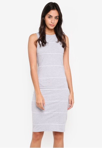 Cotton On grey and white Lena Midi Dress 96A47AA885C565GS_1