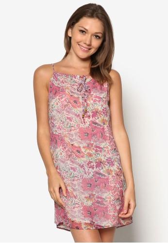 zalora 衣服評價花卉印花寬擺洋裝, 服飾, 洋裝