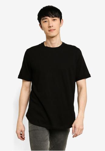 UniqTee black Solid Rolled Sleeve Tee 35ACFAA43CD3FFGS_1