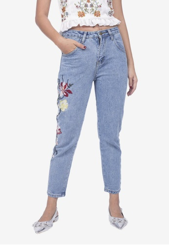 Caoros blue Embroidered Jeans 7C8F3AACEE10BCGS_1