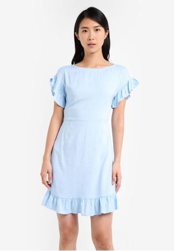 ZALORA blue Ruffle Slim Fit Dress BD361AA4AF4FD4GS_1