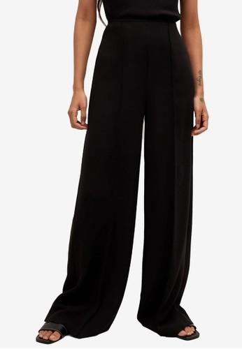 Mango black Flowy Palazzo Trousers E7E85AA58853A7GS_1