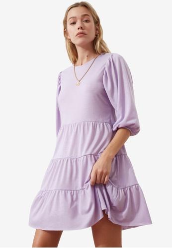 Trendyol purple Poplin Sleeve Tiered Swing Dress 3BF11AA998E836GS_1