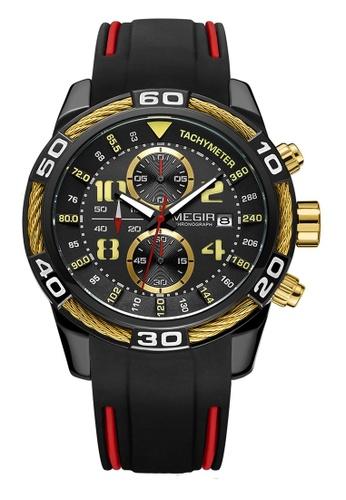 Megir black Japan Design Quartz Movement Megir Watch 856D1AC987A7DCGS_1