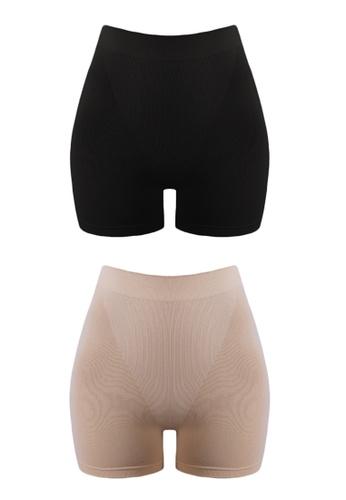 Neubodi black and beige Nano Collagen Boy Short Panty (2 Pieces In A Pack) NE503US0RESTMY_1