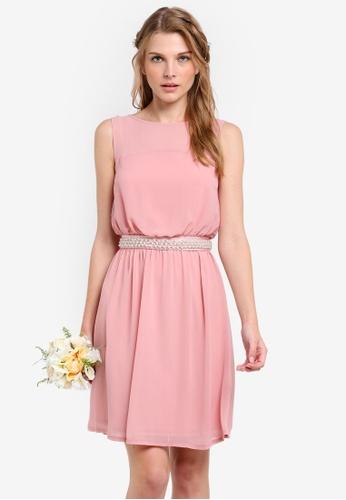 ZALORA pink Bridesmaid Embellished Waist Tie Mini Dress E1576AAA4F3B77GS_1