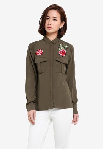 ZALORA green Floral Patch Shirt C0F6CZZ3823009GS_1