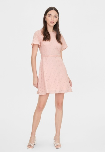 Pomelo pink Semi Sheer Butterfly Sleeves Dress - Pink A038AAA8FAF036GS_1