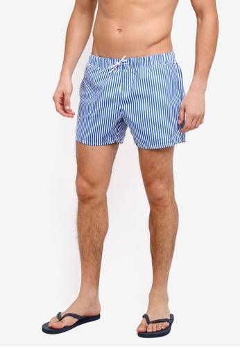 Topman blue Blue Stripe Swim Shorts 53FA5AA62A5D23GS_1