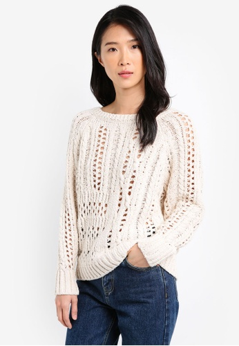 River Island white and beige Stitch Cable Knit Jumper RI009AA0SJCMMY_1