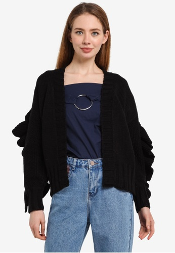 LOST INK black Extreme Chunky Ruffle Cardigan 5A00CAA79B8A72GS_1