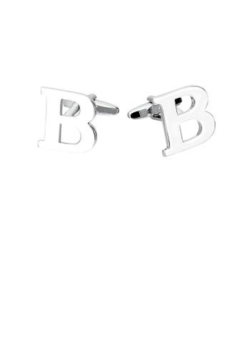 Glamorousky silver Simple Personality English Alphabet B Cufflinks CE54BAC155E68EGS_1