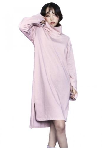 A X A pink Sleeve Slit Dress AX230AA73CDMSG_1