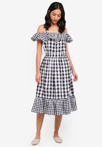 NAIN black Gingham Check Ruffle Dress BB6EEAAC9E2C30GS_1
